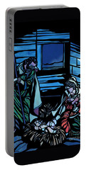 Nativity Stained Glass Portable Battery Charger by Methune Hively