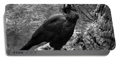 Nevermore - Black And White Portable Battery Charger