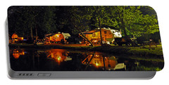 Nighttime In The Campground Portable Battery Charger by Kay Lovingood