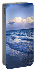 Ocean Waves On Beach At Dusk Portable Battery Charger