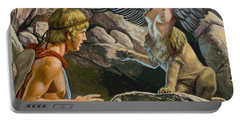 Oedipus Encountering The Sphinx Portable Battery Charger by Roger Payne