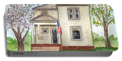 Portable Battery Charger featuring the painting Ohio Cottage With Flag by Clara Sue Beym