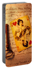 Old Playing Card And Key Portable Battery Charger