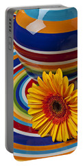 Orange Daisy With Plate And Vase Portable Battery Charger