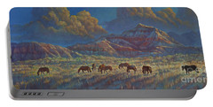 Portable Battery Charger featuring the painting Painted Desert Painted Horses by Rob Corsetti