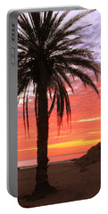 Palm Tree And Dawn Sky Portable Battery Charger by Roupen  Baker