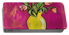 Parrot Tulips In A Yellow Vase Portable Battery Charger
