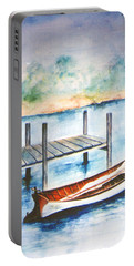 Portable Battery Charger featuring the painting Pea Pod Boat by Lynn Buettner