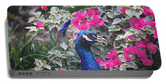 Portable Battery Charger featuring the photograph Peacock And Bouganvillas by Donna Smith