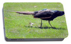 Portable Battery Charger featuring the photograph Peacock Striding by Bonnie Muir
