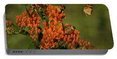 Pearly Crescentpot Butterflies Landing On Butterfly Milkweed Portable Battery Charger by Daniel Reed