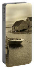 Peggys Cove In Sepia Portable Battery Charger by Richard Bryce and Family
