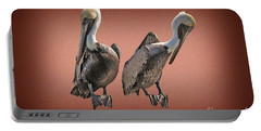 Portable Battery Charger featuring the photograph Pelicans Posing by Dan Friend
