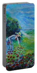 Portable Battery Charger featuring the painting Picking Flowers by Leslie Allen