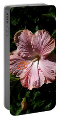 Pink Hibiscus Portable Battery Charger by Karen Harrison