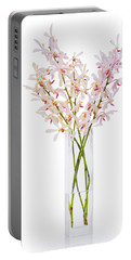 Pink Orchid In Vase Portable Battery Charger