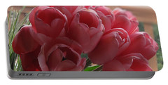 Pink Tulips In Vase Portable Battery Charger
