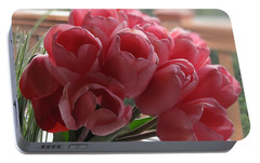 Portable Battery Charger featuring the photograph Pink Tulips In Vase by Katie Wing Vigil