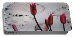 Pink Water Lily Buds Portable Battery Charger