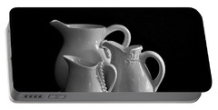Portable Battery Charger featuring the photograph Pitchers By The Window In Black And White by Sherry Hallemeier