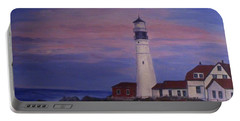 Portable Battery Charger featuring the painting Portland Head Lighthouse At Dawn by Julie Brugh Riffey