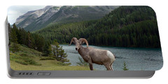 Portrait Of A Bighorn Sheep At Lake Minnewanka  Portable Battery Charger by Laurel Best