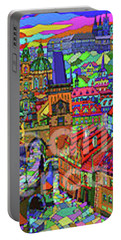Prague Panorama With Charles Bridge Portable Battery Charger