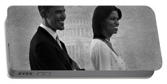 President Obama And First Lady Bw Portable Battery Charger by David Dehner