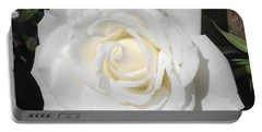 Pure White Rose Portable Battery Charger