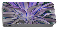 Purple Aloe Portable Battery Charger by Rebecca Margraf