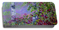 Portable Battery Charger featuring the painting Purple Haze by Joanne Smoley
