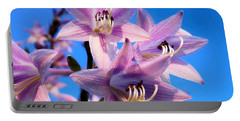 Portable Battery Charger featuring the photograph Purple Hosta Blooms by Davandra Cribbie