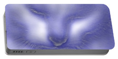 Digital Puss In Blue Portable Battery Charger by Linsey Williams