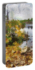 Portable Battery Charger featuring the painting Quarry View by Mario Carini