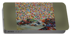 Portable Battery Charger featuring the painting Race Day by Judith Rhue