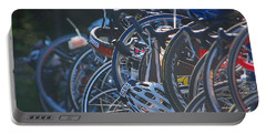 Portable Battery Charger featuring the photograph Racing Bikes by Sarah McKoy