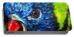 Portable Battery Charger featuring the painting Rainbow Lorikeet Look by Julie Brugh Riffey