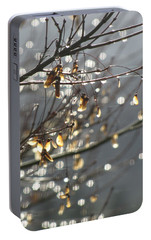 Portable Battery Charger featuring the photograph Raindrops And Leaves by Katie Wing Vigil