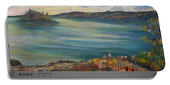 Portable Battery Charger featuring the painting Rainy Lake Michigan by Julie Brugh Riffey