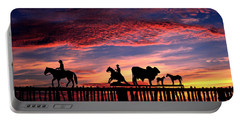 Texas Ranch Gate At Sunrise Portable Battery Charger