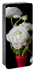 Ranunculus In Red Vase Portable Battery Charger