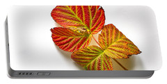 Raspberry Leaves In Autumn Portable Battery Charger by Sean Griffin