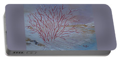Portable Battery Charger featuring the painting Red Branches by Judith Rhue