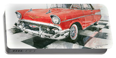 Red Chevrolet 1957 Portable Battery Charger