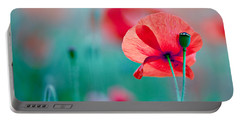 Red Corn Poppy Flowers 04 Portable Battery Charger