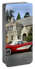 Red Corvette Outside The Playboy Mansion Portable Battery Charger