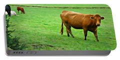 Portable Battery Charger featuring the photograph Red Cow by Charlie and Norma Brock