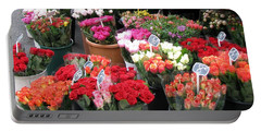 Portable Battery Charger featuring the photograph Red Flowers In French Flower Market by Carla Parris