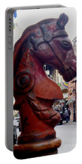 Portable Battery Charger featuring the photograph Red Horse Head Post by Alys Caviness-Gober