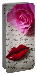 Red Lips On Letter Portable Battery Charger